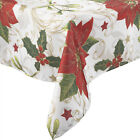 Festive Holly & Poinsettia Christmas Tablecloth 100% Polyester Home Table Linen