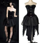 PUNK goth sexy girl's Kera Goth embroidery flower totem Corset dress S-XL