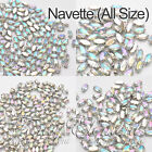 Acrylic Navette 4200 Clear AB Crystal Silver Set Sew On Rhinestone Bead All Size