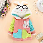 Kids Girl Warm Clothing Colorful Rabbit Costume Cotton Baby Stereo Hooded Jacket