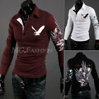 Vintage Men's Casual Trendy Slim-Fit Tattoo Graphic Printed Design Polo Shirts