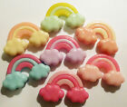 4 or 7 RAINBOW CLOUDS FLAT BACK RESIN CABOCHONS 29mm x 19mm Kawaii Decoden