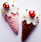 6 ICE CREAM CORNET CONE RESIN FLAT BACK CABOCHONS 25mm x 14mm - Strawberry