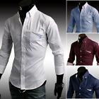 Men's Luxury Slim Fit Tee Dress Shirts Button Up Casual Shirts Long Sleeves Tops