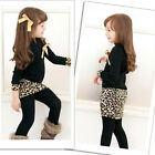 Kids Girls Toddlers Long Sleeve One Piece Dress Bow Leopard Skirts Costume 2-6Y