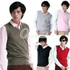 Men's Jumper Sleeveless Golf Sweater V-Neck Knit Vest Tank Top S-3XL 7 Colour