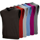 Ashworth Mens Merino Wool Sleeveless V Neck Golf Vest Slipover Jumper Sweater