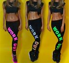 Womens Colorful WORK OUT Printed Dope Leggings Slogan Bottoms Jeggings Pants Hot