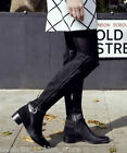 Karen Millen Black Suede & Buckle Flat Leather Riding Long Knee High Boots 36 3