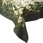 Festive Floral Christmas Joy Tablecloth Cotton Mix Vintage Xmas Home Table Linen