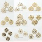 Fantastic Golden Inlay Rhinestones Alloy Charms Pendants Findings Nice Gifts BS