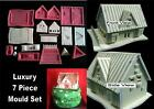 LUXURY 3D HOUSE COTTAGE 7 MOULD SET  silicone  mold DETAIL Xmas gingerbread