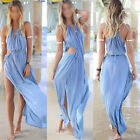 Celeb Fashion Sexy Halter Boho Summer Beach Maxi Side Split Chiffon Long Dress
