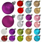 12 Christmas Hanging Glitter Classic Round Baubles Decorations