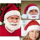 Unisex Kids Red Santa Claus Hat Cap With Beard Xmas Party Cap  Hats S