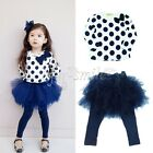 Toddler Girls Kids Holiday Outfit Set Dress Dots Top+Skirt Leggings 2T-6 Clothes
