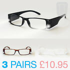 3 PAIRS OF NEW LED L.E.D MAGNIFYING READING GLASSES +1.5+2+2.5+3.0+3.5