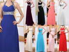 Long Party Prom Bridesmaid Ball Evening Chiffon Dress Beaded Formal Size 6-26