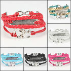 1Pcs Infinity Love Heart one direction Friendship Silver Leather Charm Bracelet