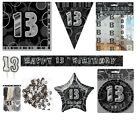 13th Birthday/Age 13 - BLACK/SILVER Party Items, Decorations, Tableware