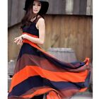 Hot Women Bohemian Sleeveless Striped High Waited Pleated Long Skirt Sun Dress