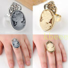 Women's Retro Vintage Steampunk Victorian Lady Cameo Pendant Silvery/Golden Ring