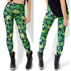 Sexy Woah Dude Green Leaf Printed Leggings Weed LUCKY Stretchy Pants Trousers