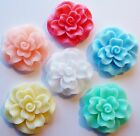 6 FROSTED SHIMMER  ROSE FLOWER FLAT BACK RESIN CABOCHONS 34mm