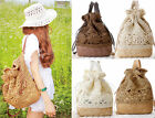 String drawstring vintage handmade straw boho shoulder bag backpack handbag new