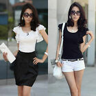 Women Casual Lotus Leaf Short Sleeve Chiffon T-Shirt Blouse Summer Blouse Tops