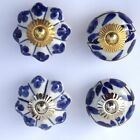 Choice of 4 - Blue White Ceramic Porcelain Door Knob Handle Drawer cupboard pull