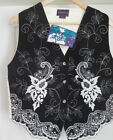 LADIES WAISTCOAT VINTAGE EMBROIDED FRONT STRIKING BLACK & WHITE S(36) M(38)L(40)