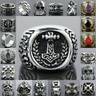 Hot Sale Punk Crystal Iron Man Totems Thor's Hammer Stainless Steel Finger Rings