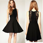 Fashion Sexy Women Chiffon Dress Lace Top Sleeveless Tank Dress Skater Dress