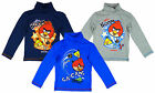 Boy's Angry Birds Cotton Roll Neck Long Sleeve Polo T-Shirt Top 4 6 8 10 Yrs NEW
