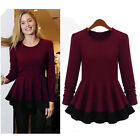 Women Peplum Blouse Crew Neck Long Sleeve Shirts Tee Tops T-Shirt S M L XL