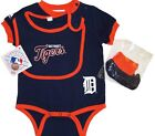 Detroit Tigers Infant Triple Play Bib, and Bootie, Creeper Set-24 Months-NWT