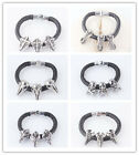 New Mens 316L Stainless Steel Rubber travel Silver Bracelets & Bangle In 7 Style