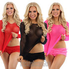 Sexy Lingerie Fishnet/ Fish Net Long Sleeved T Shirt Top Size 10,12,14 NEW
