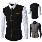 Mens UK Retro Stylish Slim Fit Dress Shirts Long Sleeve Formal Suit Shirt Tops
