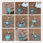 hot? Classical Turquoise cute tibet silver hook Pendant+Necklace