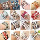 Infinity Love Heart Arrow Friendship Antique Silver Leather Charm Bracelet Style