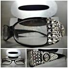 Women's CONTEMPORARY MODERN READING EYE GLASSES READERS Clear Crystal Handmade