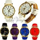 Trendy Womens Geneva Gold Plated Round Dial PU Leather Analog Quartz Wrist Watch