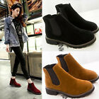 Vintage Round Suede Women's Ankle Bootie Shoes Low Heel Martin Boot Newest Style