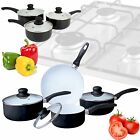 7 PIECE CERAMIC COATED COLOUR FRYING PAN SET WHITE NON STICK PYREX GLASS LID KIT