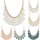 New Charm Jewelry Multilayer Pearl Pendant Chain Statement Bib Collar Necklace