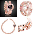Women's Crystal Long Adjustable Bracelet Gold Strap Band Quartz Wrist Watch Lady