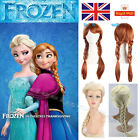 Disney Frozen Princess Queen Elsa Anna Blonde Weaving Braid Cosplay Wig Girl UK