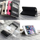 "For Apple iPhone 6 4.7"" Hard Shockproof Case Leather Cover w/ Window View Film"